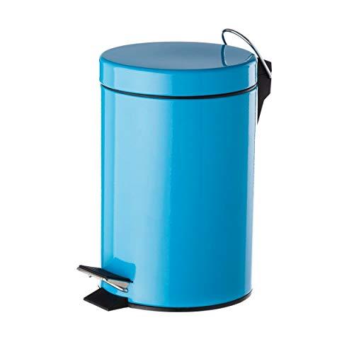 Home Line Papelera Azul Metal 17 x 23 x 25,50 cm Capacidad: 3 litros, con Pedal.