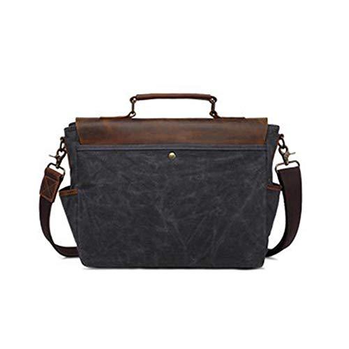 XZDM Messenger Bag Schultertasche Geeignet für Studie, Designer, Arbeit Hochwertiger Leinwand und Leder 15-Zoll-Laptoptasche Retro Business Travel Messenger Bag Black