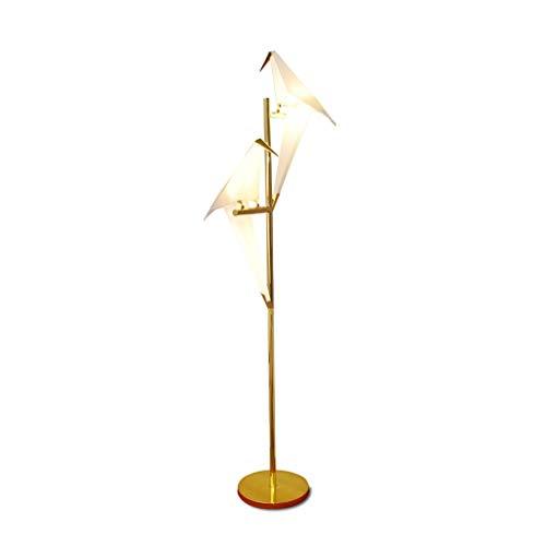 Yyqx Lámpara de pie Art Deco Bird Paper Lámpara de pie Dormitorio Sala de Estar Soporte de lámpara Origami Light Estudio Mesita de Noche Mesa de Lectura Lámpara de Piso Dorada Salon (Color : Double)