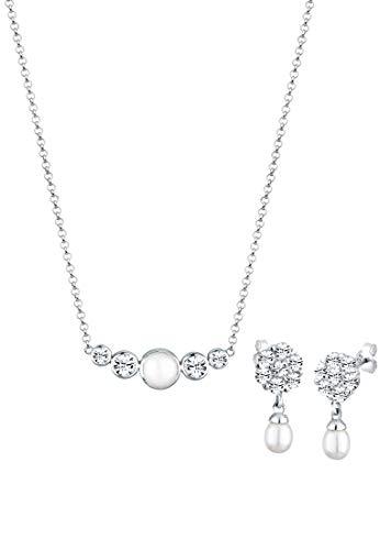 Elli PREMIUM Schmuckset Damen Klassisch mit Süßwasserzuchtperle und Kristalle aus 925 Sterling Silber