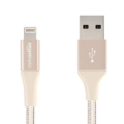AmazonBasics - USB-A auf Lightning-Kabel mit doppelt geflochtenem Nylon - Apple MFi-zertifiziert, Gold, 10cm