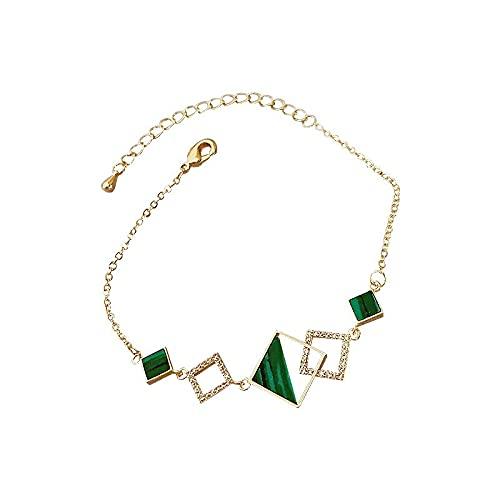 Pulsera Con Dijes De Diamantes De Imitación Verde Cuadrada Simple Pulsera Ajustable De Cadena Fina Dorada Para Mujer Verde