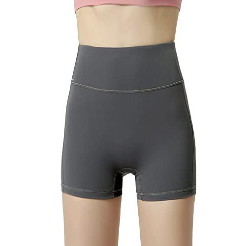 Shorts de Deporte para Mujer Yoga Short Control Barriga Sin Costuras Elástico de Alta Cintura Transpirable para Verano Fitness Yoga Correr Deporte,Gris,XL