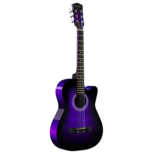 Boll-ATur Purple Beginner Acoustic Guitar Full Size, 38' Cutaway Guitar Bundle With Gig Bag,Tuner,Capo Picks,Strap String,Strings