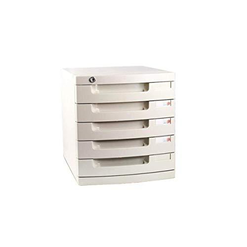 LHQ-HQ Schublade Sorter Dokumentenspeicherschrank, Desktop Extension Schublade Abschließbare Office-Organizer (Kunststoff), 29,5 * 39,4 * 43cm (Größe: mittel 5-Schichten) Zeitungsständer