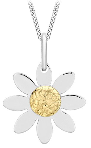 Carissima Gold 9 ct 2 Colour Gold Daisy Flower on Curb Chain Necklace of Length 46 cm/18 inch