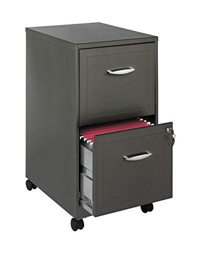 """Space Solutions 18"""" 2 Drawer Mobile Smart SOHO Vertical File Cabinet, Metallic Charcoal"""