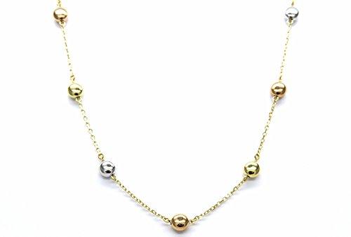 Collana Oro Bianco Rosa Giallo 18kt (750) Catenina Collier Girocollo Lenticchie Tricolore Cm 42-44 Donna Ragazza