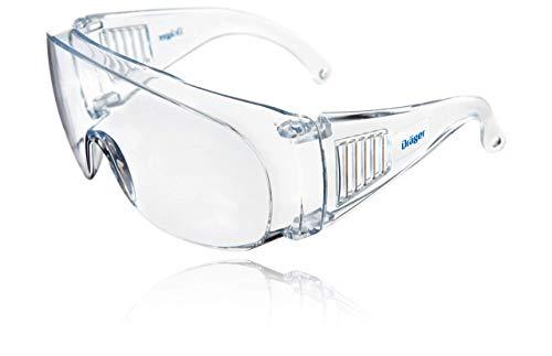 Dräger Schutzbrille X-pect 8110 | Überbrille auch für Brillenträger | Für Baustelle, Labor, Werkstatt und Fahrrad-Fahren | Leicht, klar und mit indirekter Belüftung (1 Stück)