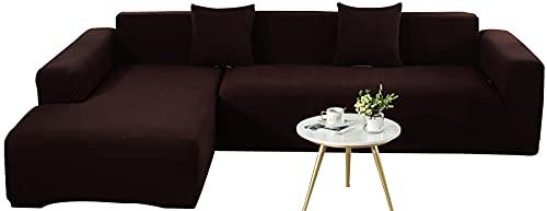 KIKIGO 2 Pcs Ecksofa Abdeckung,Sofabezug L Form, Sofahusse Ecksofa,Sofa Bezug 2er Set FüR L Form Sofa,Brown_l_Style-3+4_Seater