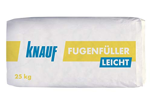 Knauf Fugenfüller leicht zum Verspachteln von Gipsplatten mit HRK/HRAK, mit Fugen-Deckstreifen, 25 kg – Gips-Spachtel, sehr ergiebige Füllspachtel-Masse