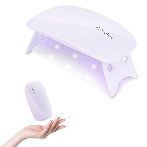 Aokitec UVライト レジン用 レジン UVライト ネイルライト Mini 硬化用UVライト UV LED ネイルドライヤー 赤外線検知 2段階タイマー設定 折りたたみ式 痛みなし 【12ヶ月品質保証】 日本語説明書付き (Medium, ホワイト)