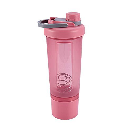 Botella Mezcladora De ProteíNas De con Caja De Almacenamiento De Bolas Mezcladoras Botella De Agua Botella Mezcladora De ProteíNas Botella Mezcladora para Batidos De Fitness,Rosado,600ml