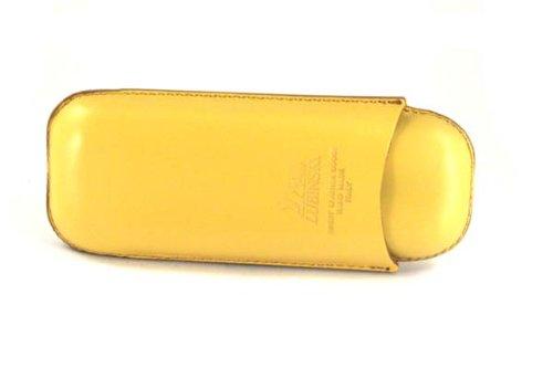 Sigarettenhouder voor 2 sigaren in het formaat robuust, van geel leer. Handgemaakt in Italië.