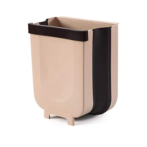 YGR Kitchen Hanging Trash can, Foldable Trash can, Household Portable Telescopic Picnic Trash can, Bathroom Bedding, Office car Available (Color : Beige)