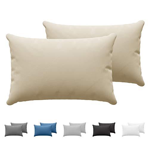 Dreamzie - Set de 2 x Taie Oreiller 40 x 60 cm - Beige - 100% Coton Jersey 150gsm - Housse de Coussin Résistant et Hypoallergénique