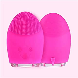 Facial Cleansing Brush Sonic Vibration Face Cleaner Silicone Waterproof Deep Pore Cleaning Electric Face Cleanser Massage Brush (Rose Red)