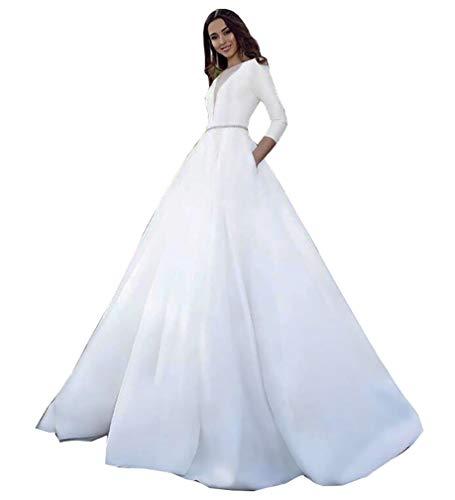 CGown Damen Illusion V-Ausschnitt 3/4 Ärmel Perlen Hochzeitskleid für Braut mit Zug Satin Braut Ballkleid Gr. 54, elfenbeinfarben