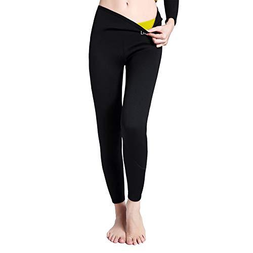 3 4 Leggings Deportivos Calzas para Adelgazar Medias Femeninas Sudor y Sauna Pantalones Gimnasio Fitness Yoga Promueve Sudoración para Mujer(Negro M)