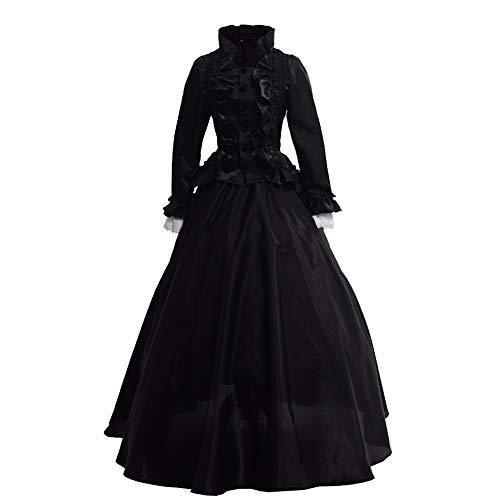 GRACEART Damen Gothic Viktorianisches Kleid Renaissance Maxi Kostüm (M, Schwarz)