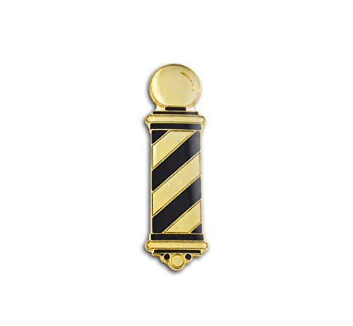 Barber Pole Lapel Pin, Gold & Black