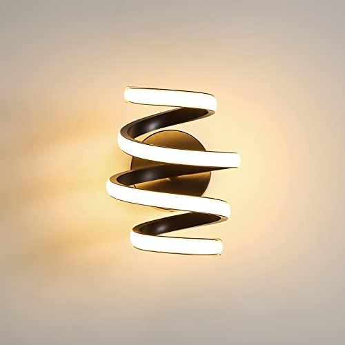 Lámpara de Pared Interior 24W Aplique Espiral Led negro 3000K Modern Acrylic Dormitorio Pasillo Luces Apta Para Dormitorio, Pasillo, Sala de Estar, Bar 🔥