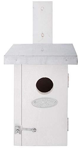 Esschert Design Nistkasten, Vogelhaus Zaunkönig in weiß, ca. 11 cm x 14 cm x 25 cm