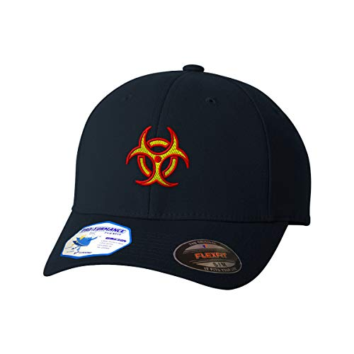 Flexfit Baseball Cap Bio Hazard Logo Embroidery Design Polyester Hat Elastic Dark Navy Large/X Large Design Only