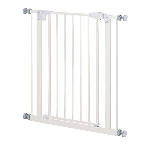PawHut 74-84cm Adjustable Metal Pet Gate Safety Barrier w/Auto-Close Door Double Locking Easy-Open Doors Stairs Home Frames White
