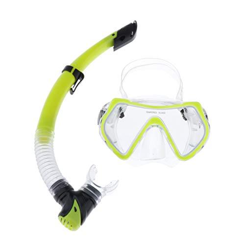 freneci Juego de Snorkel para Adultos Máscara de Buceo de Vidrio Templado Juego de Boquilla de Snorkel Semiseco