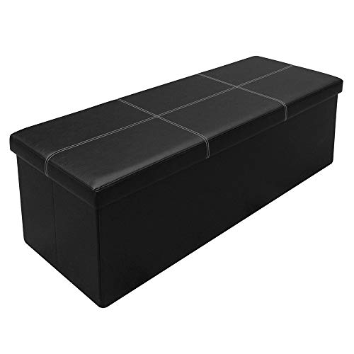 Otto & Ben Folding Toy Box Chest with Memory Foam Seat Faux Leather Trunk Bedroom Ottomans Bench End Table, 45 Inch, Line Black