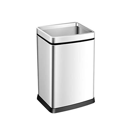 NYKK Edelstahl-Square-Mülleimer kann große Müllbehälter ohne Cover Modern minimalistische Mülleimer for Küche Wohnzimmerbüro (Size : White -15L)