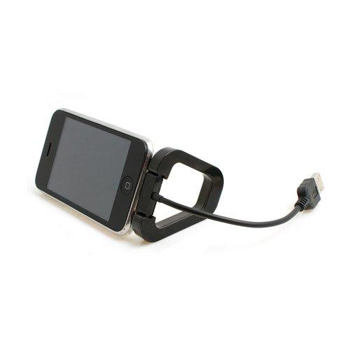 System-S 15cm USB Datenkabel LadeKabel Kurzkabel mit Tischständer Ständer für Apple iPhone Calssic 3G 3GS 4 iPod Touch 1G 2G 3G 4G