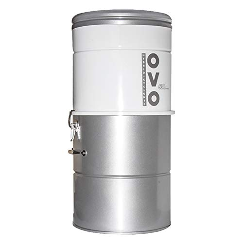 OVO, Large and Powerful Central Vacuum System, 630 AW, Hybrid Filtration (With or Without disposable bags), Covers up to 7500 sq.ft, 6,6 Gal / 25L Bottom load Rolled Steel Canister