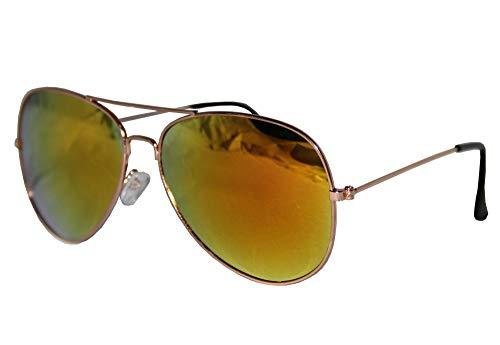 Foxxeo FO35319 | Pilotenbrille Party Brille Pilot Cool Sonnenbrille Gelb 70er Fasching