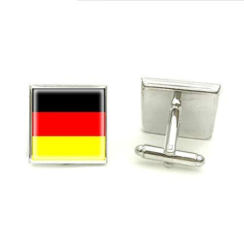 Manschettenknöpfe, Motiv: Deutschland-Flagge, Silber, handgefertigt, Schmuck, Glas, Foto, Manschettenknöpfe für Herren
