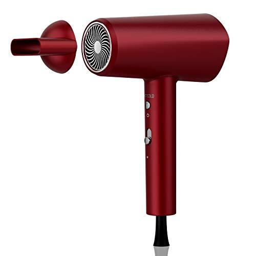 Secador de pelo de iones negativos de 1800 W, carcasa de terciopelo rojo, una tecla para controlar la temperatura y la velocidad del viento