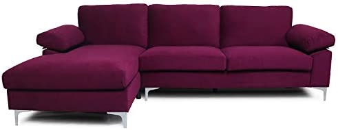 Best Purple Sectional Sofa with Lounger Chaise,JULYFOX Overstuffed 3 Seater Fabric Couch L-Shaped Sofa Ex