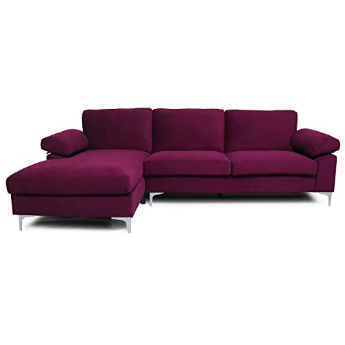 Purple Sectional Sofa with Lounger Chaise,JULYFOX Overstuffed 3 Seater Velvet Fabric Couch L-Shaped Sofa Extra Wide Armrest