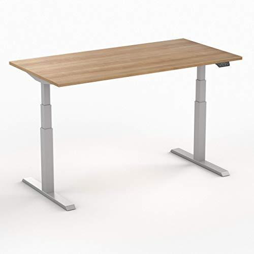 Worktrainer Elektrischer Sitz-Steh-Schreibtisch Steelforce 470 (Silber/Havanna 140 x 80cm)