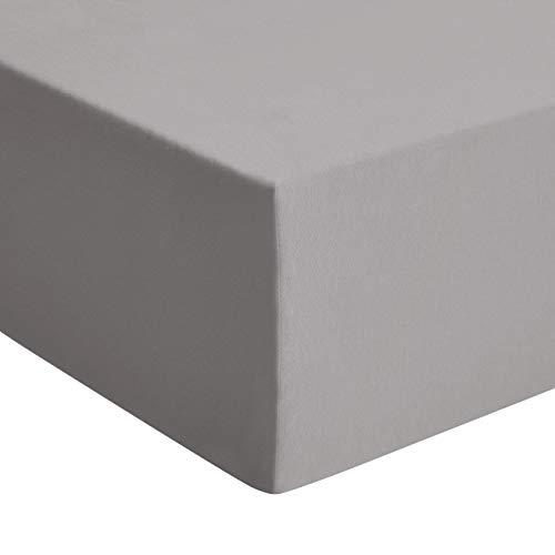 Amazon Basics - Premium-Spannbetttuch, Jersey, Dunkelgrau - 180 x 200 cm