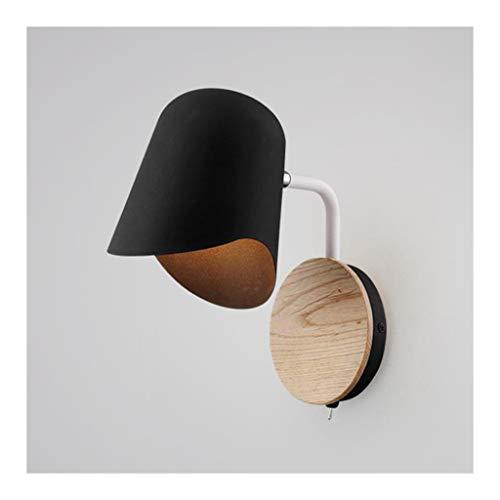 LED Sconce Wandlamp - Nordic Creativity Wandlamp, Iron Art E27*1 Zwart Wit, Woonkamer Decor Slaapkamer Bed Studie Lezen Nachtlampje [Energie Klasse A++]
