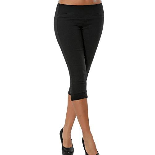 MORCHAN ❤ Mode Femmes, Plus la Taille Solide Bouton Fermeture éclair Pantalons décontractés Pantalon Longueur Mollet Jeans Combinaisons Pantalon Court Collants Leggings (L,Noir-1)