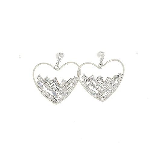 Hedoné - Pendientes de mujer elegantes con colgantes brillantes de circonita para fiestas - ceremonia - bodas (corazón)