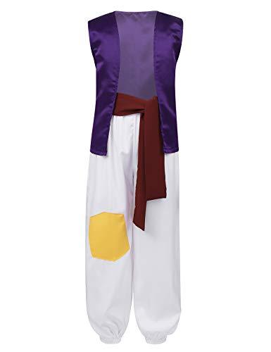 MSemis Disfraz Príncipe Aladín Niños Traje Oriental Disfraz Príncipe Árabe Bebés Cosplay Rey Latino Traje Disfraces Fiesta Navidad Cumpleaños Morado 6 Años