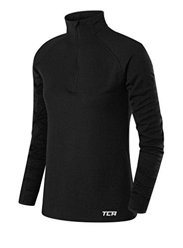 TCA Cloud Fleece Damen Thermo-Laufshirt mit Kragen & halbem Reißverschluss - Langarm - Schwarz, M
