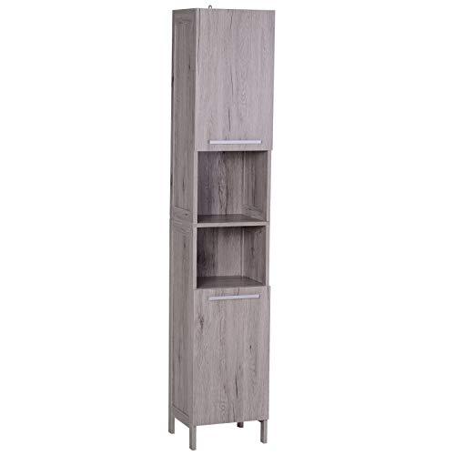 kleankin Mueble Auxiliar para Almacenaje de Baño Armario Alto para Baño con Zonas Abiertas y Cerradas 30x32x172.5 cm