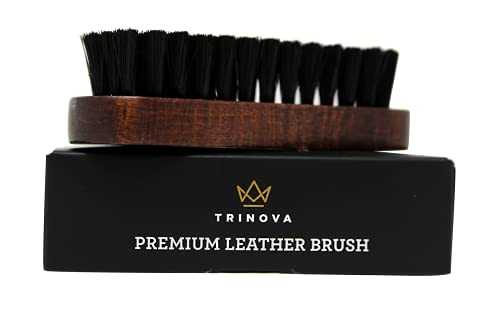 Leather Brush for Cleaning Upholstery, Cleaner car Interior, Furniture, Couch, Sofa, Boots, Shoes and More. Premium Quality. TriNova