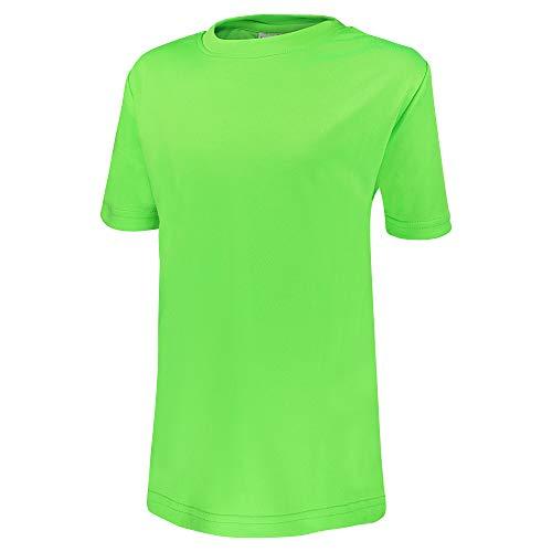 Alps to Ocean Sports Kinder Sportshirt Funktions T-Shirt Teamsport (schnelltrocknend, atmungsaktiv), Größe:164, Farbe:Neon Green
