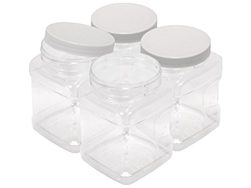 32 oz (1 quart) PET Containers, 4-Pack, Clear Plastic Kitchen Food Storage with Grip